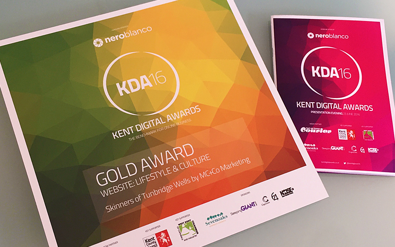 Gold success AGAIN for MC+Co at Kent Digital Awards